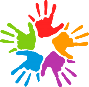 five hand prints in red, orange, purple, blue and green color