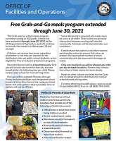 Free grab and go meals program extended through June 30, 2021 click to find more about the program