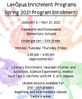 Laiopua enrichment programs spring 2021 program registration click to find more about the program