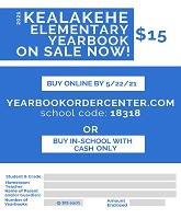 Kealakehe Elementary 2021 year book order form