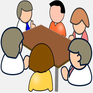 6 people having meeting at the table
