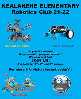 Kealakehe elementary school robotics club 21-22 flyer